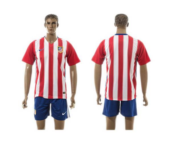 2015-16 Men's Atletico Madrid Home Customized Red With White Soccer Shirt Kit