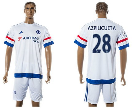 2015-16 Men's Chelsea FC Away #28 César Azpilicueta White Soccer Shirt Kit