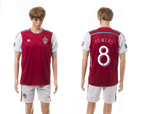 2015-16 Men's Colorado Rapids Home #8 Dillon Powers Red Soccer Shirt Kit