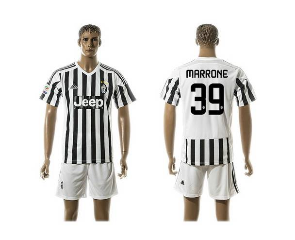 2015-16 Men's Juventus FC Home #39 Marrone Black With White Soccer Shirt Kit