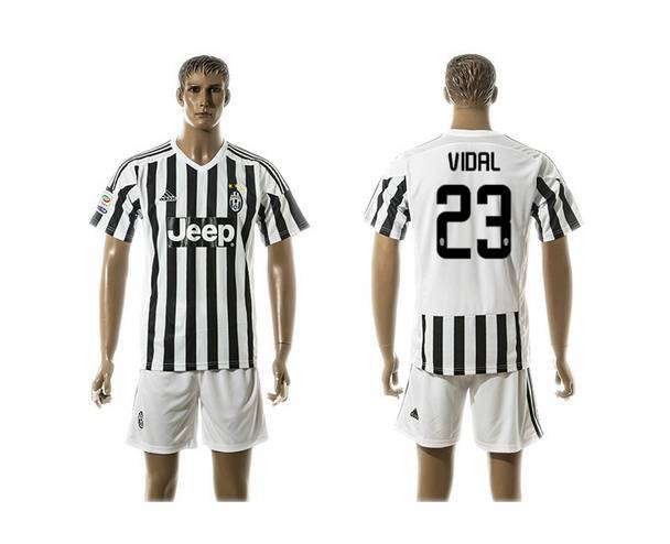 2015-16 Men's Juventus FC Home #23 Vidal Black With White Soccer Shirt Kit