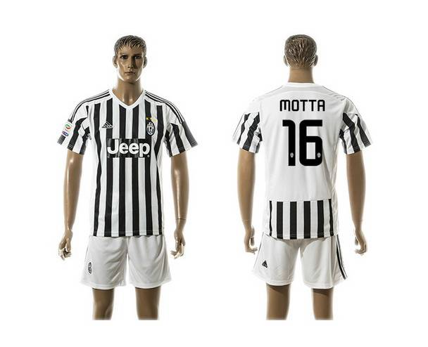 2015-16 Men's Juventus FC Home #16 Motta Black With White Soccer Shirt Kit