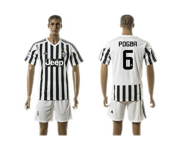 2015-16 Men's Juventus FC Home #6 Pogba Black With White Soccer Shirt Kit