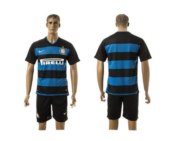 2015-16 Men's FC Internazionale Milano Home Blank Blue With Black Soccer Shirt Kit