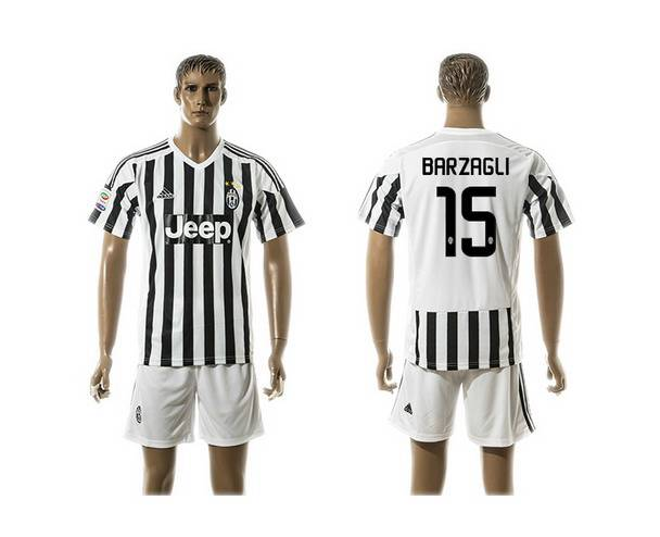 2015-16 Men's Juventus FC Home #15 Barzagli Black With White Soccer Shirt Kit