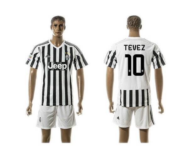 2015-16 Men's Juventus FC Home #10 Tevez Black With White Soccer Shirt Kit
