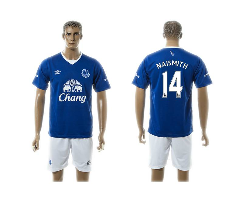 2015-16 Men's Everton FC Home #14 Steven Naismith Blue Soccer Shirt Kit