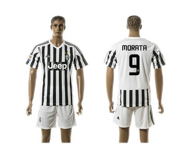2015-16 Men's Juventus FC Home #9 Morata Black With White Soccer Shirt Kit