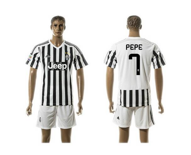 2015-16 Men's Juventus FC Home #7 Pepe Black With White Soccer Shirt Kit