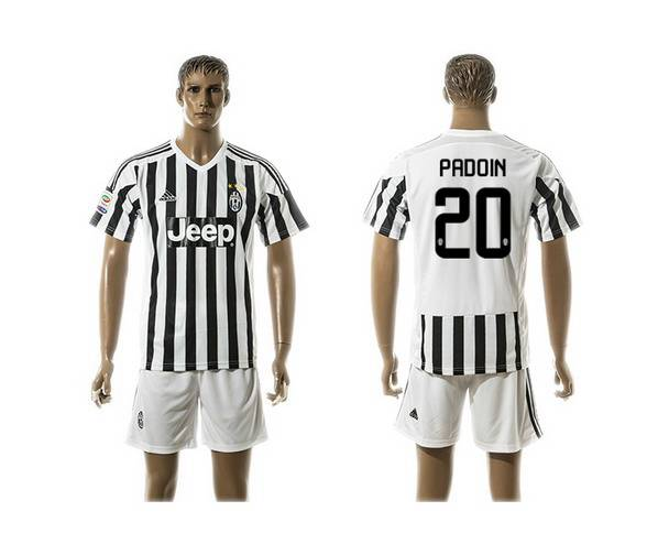 2015-16 Men's Juventus FC Home #20 Padoin Black With White Soccer Shirt Kit