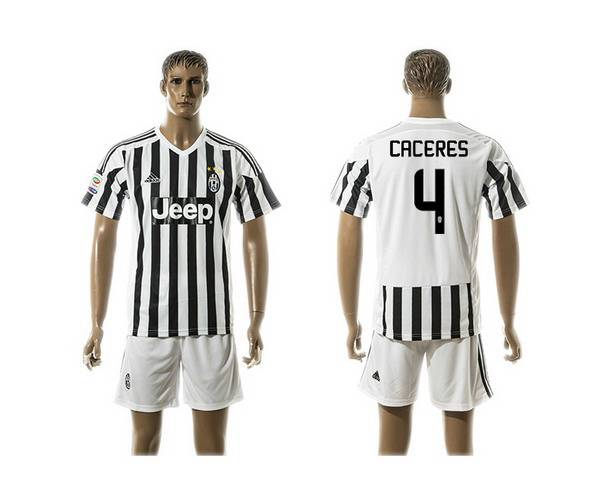 2015-16 Men's Juventus FC Home #4 Caceres Black With White Soccer Shirt Kit