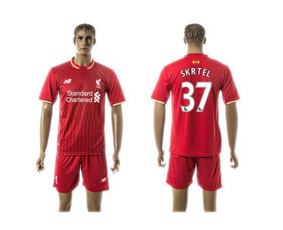 2015-16 Men's Liverpool FC Home #37 Martin Skrtel Red Soccer Shirt Kit