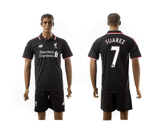 2015-16 Men's Liverpool FC Alternate #7 Suarez Black Soccer Shirt Kit