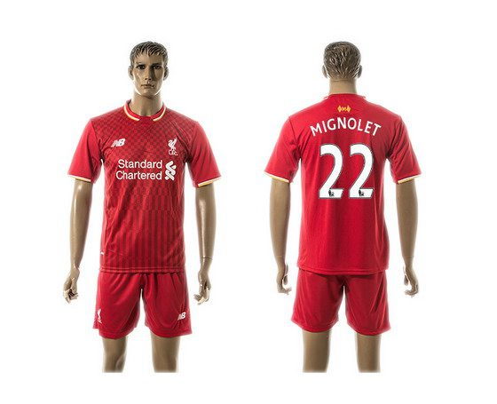 2015-16 Men's Liverpool FC Home #22 Simon Mignolet Red Soccer Shirt Kit