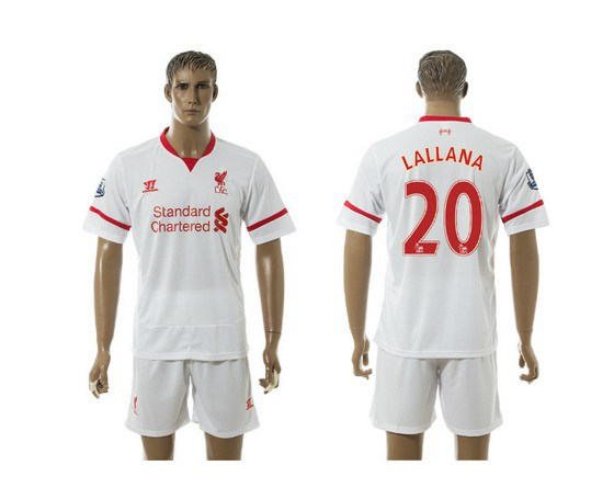 2015-16 Men's Liverpool FC Away #20 Adam Lallana White Soccer Shirt Kit