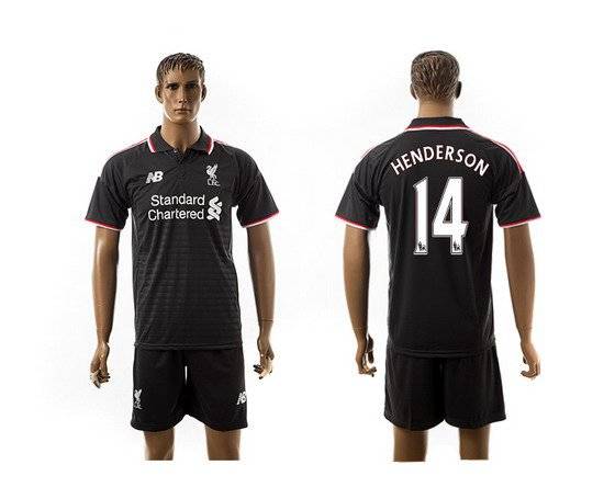 2015-16 Men's Liverpool FC Alternate #14 Jordan Henderson Black Soccer Shirt Kit
