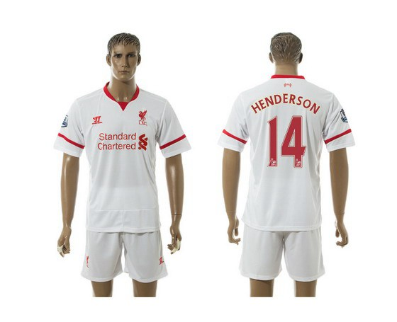2015-16 Men's Liverpool FC Away #14 Jordan Henderson White Soccer Shirt Kit