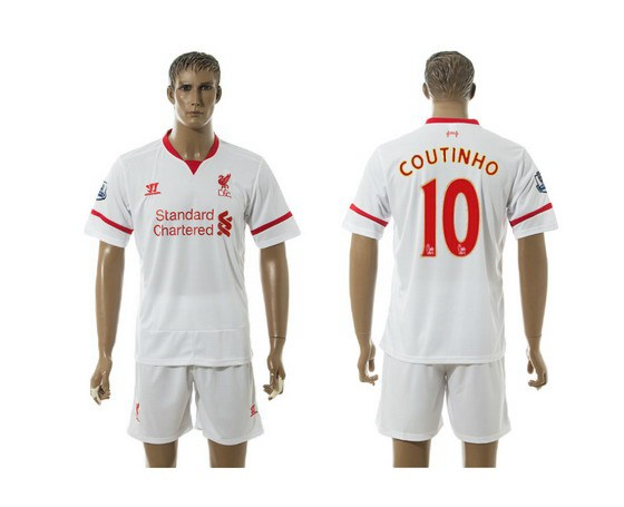 2015-16 Men's Liverpool FC Away #10 Philippe Coutinho White Soccer Shirt Kit