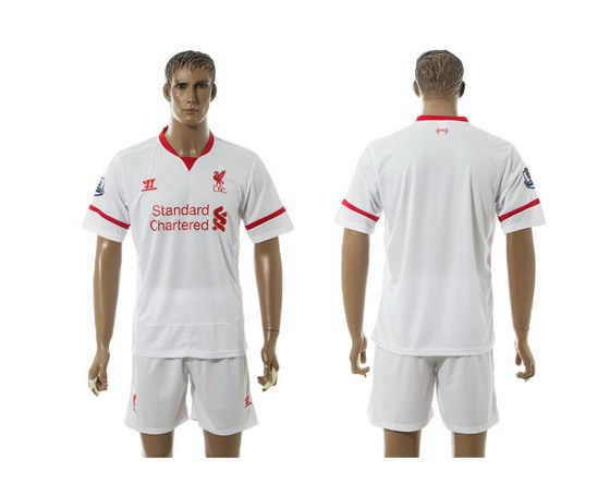 2015-16 Men's Liverpool FC Away Customized White Soccer Shirt Kit