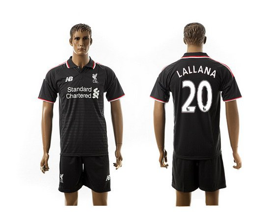 2015-16 Men's Liverpool FC Alternate #20 Adam Lallana Black Soccer Shirt Kit