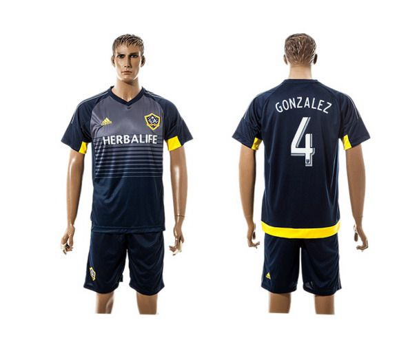 2015-16 Men's Los Angeles Galaxy Home #4 Omar Gonzalez Navy Blue Soccer Shirt Kit