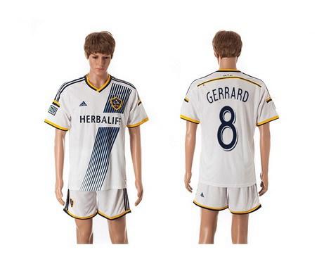 2015-16 Men's Los Angeles Galaxy Home #8 Gerrard White Soccer Shirt Kit