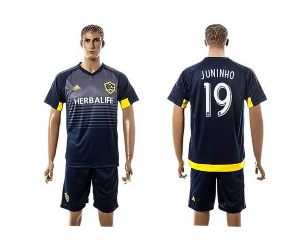 2015-16 Men's Los Angeles Galaxy Home #19 Juninho Navy Blue Soccer Shirt Kit