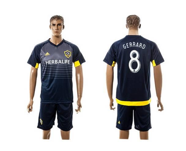 2015-16 Men's Los Angeles Galaxy Home #8 Gerrard Navy Blue Soccer Shirt Kit