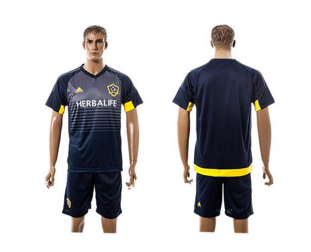 2015-16 Men's Los Angeles Galaxy Home Blank Navy Blue Soccer Shirt Kit
