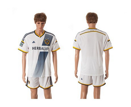 2015-16 Men's Los Angeles Galaxy Home Blank White Soccer Shirt Kit