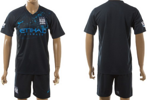 2015-16 Men's Manchester City FC Practice Customized Navy Soccer Shirt Kit