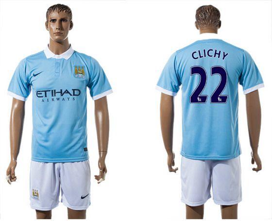 2015-16 Men's Manchester City FC Home #22 Gael Clichy Blue Soccer Shirt Kit
