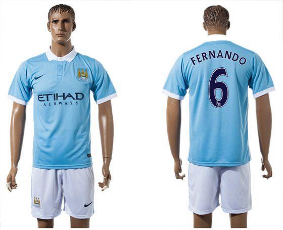 2015-16 Men's Manchester City FC Home #6 Fernando Blue Soccer Shirt Kit