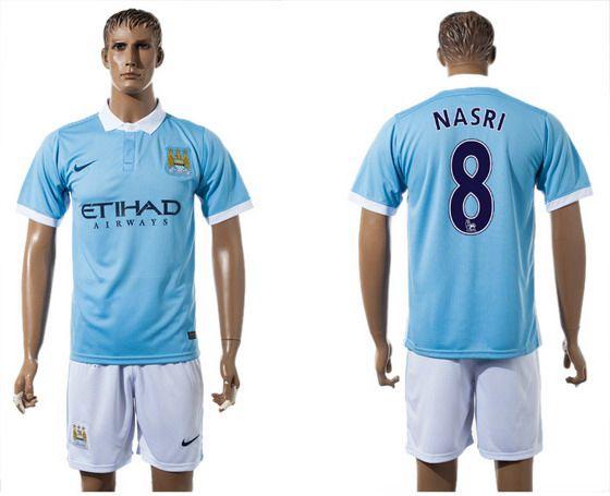 2015-16 Men's Manchester City FC Home #8 Samir Nasri Blue Soccer Shirt Kit