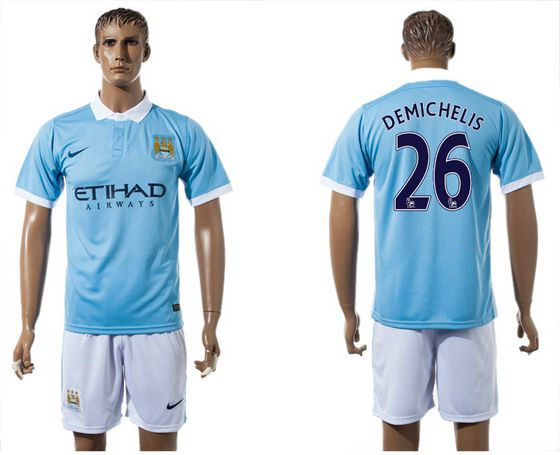 2015-16 Men's Manchester City FC Home #26 Martín Demichelis Blue Soccer Shirt Kit