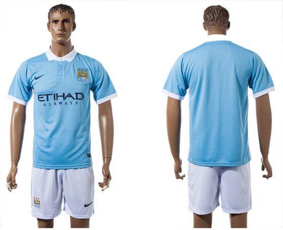2015-16 Men's Manchester City FC Home Blank Blue Soccer Shirt Kit