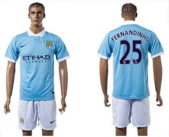 2015-16 Men's Manchester City FC Home #25 Fernandinho Blue Soccer Shirt Kit