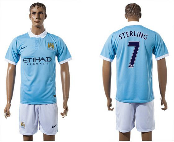 2015-16 Men's Manchester City FC Home #7 Raheem Sterling Blue Soccer Shirt Kit