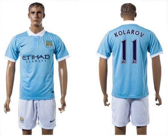 2015-16 Men's Manchester City FC Home #11 Aleksandar Kolarov Blue Soccer Shirt Kit