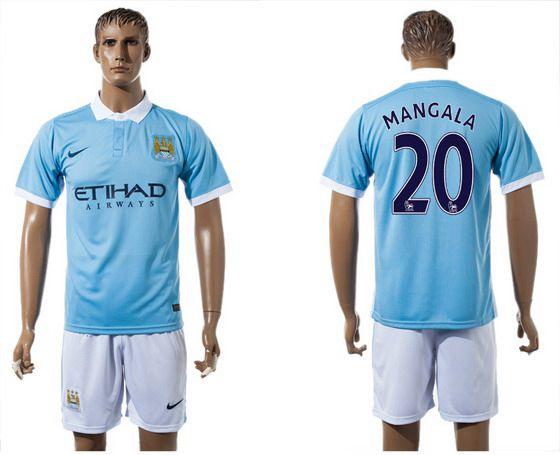 2015-16 Men's Manchester City FC Home #20 Eliaquim Mangala Blue Soccer Shirt Kit