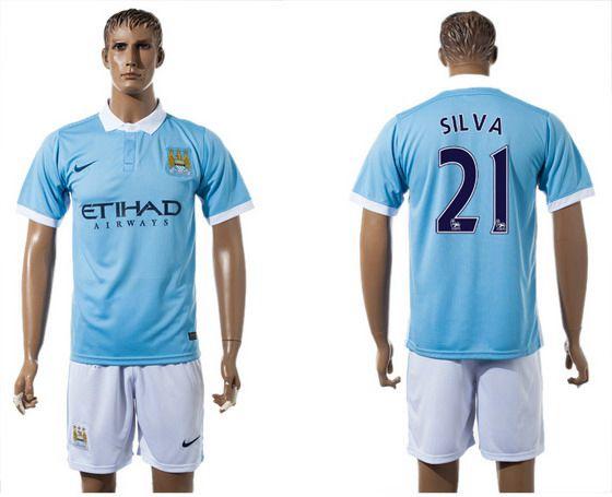 2015-16 Men's Manchester City FC Home #21 David Silva Blue Soccer Shirt Kit