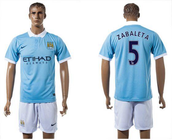 2015-16 Men's Manchester City FC Home #5 Pablo Zabaleta Blue Soccer Shirt Kit