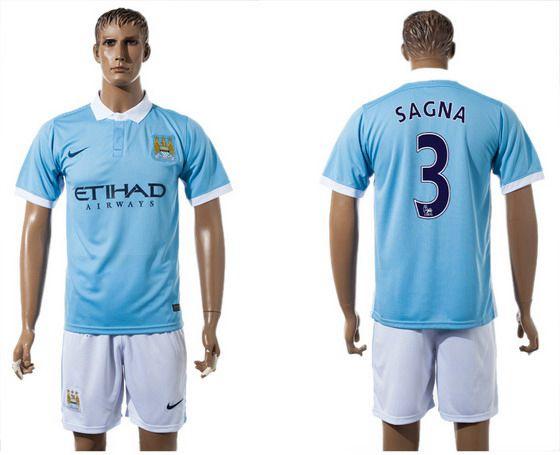 2015-16 Men's Manchester City FC Home #3 Bacary Sagna Blue Soccer Shirt Kit