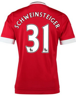 2015-16 Men's Manchester United FC Home #31 Bastian Schweinsteiger Red Soccer Shirt Kit