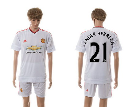 2015-16 Men's Manchester United FC Away #21 Ander Herrera White Soccer Shirt Kit