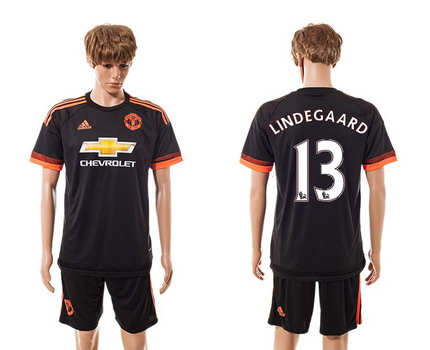 2015-16 Men's Manchester United FC Alternate #13 Anders Lindegaard Black Soccer Shirt Kit