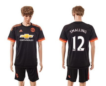 2015-16 Men's Manchester United FC Alternate #12 Chris Smalling Black Soccer Shirt Kit