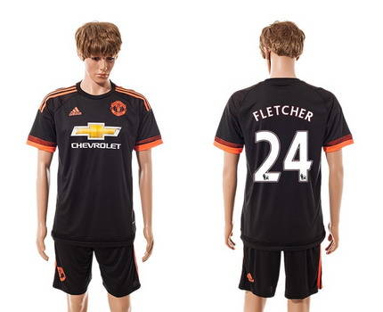 2015-16 Men's Manchester United FC Alternate #24 Fletcher Black Soccer Shirt Kit