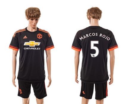 2015-16 Men's Manchester United FC Alternate #5 Marcos Rojo Black Soccer Shirt Kit