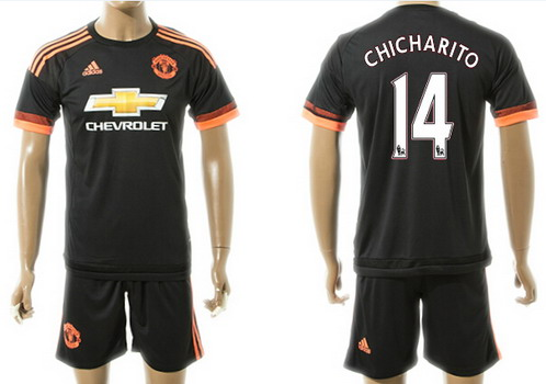 2015-16 Men's Manchester United FC Alternate #14 Chicharito Black Soccer Shirt Kit